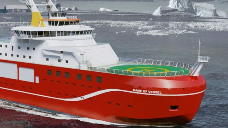 A computer-generated image of NERC's currently unnamed new vessel. (Photo: HO, AFP/Getty Images)