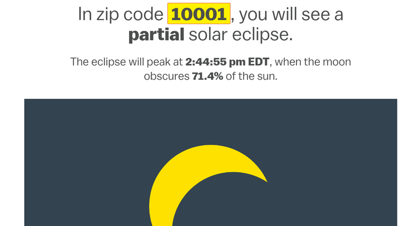 Illustration for article titled This Tool Shows You Exactly What the Eclipse Will Look Like in Your Area