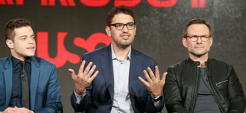 Sam Esmail (center) flanked by the stars of his hit show Mr. Robot. Image: Frederick M. Brown/Getty Images