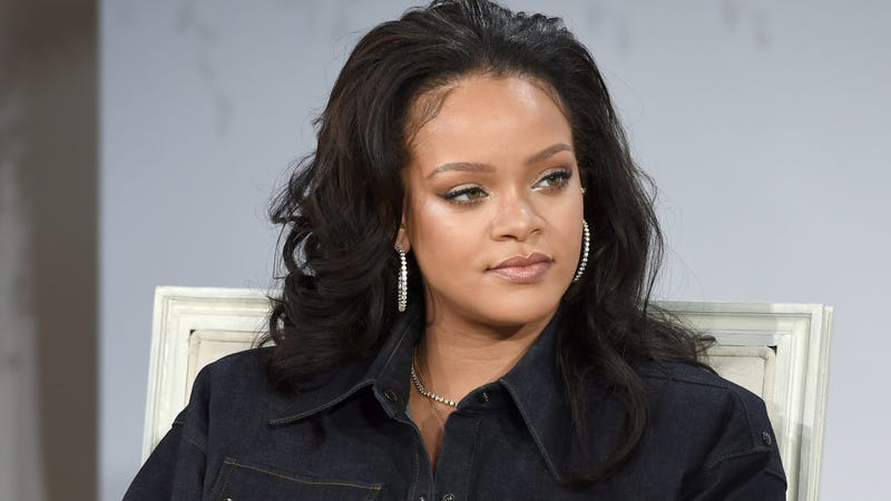 Rihanna speaking at a conference in New York City on Oct. 12, 2017