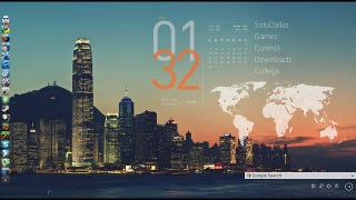 The offshore desktop commonly used apps on the side a huge time and date display overlay with a world clock and a built in gumiabroncs Image collections