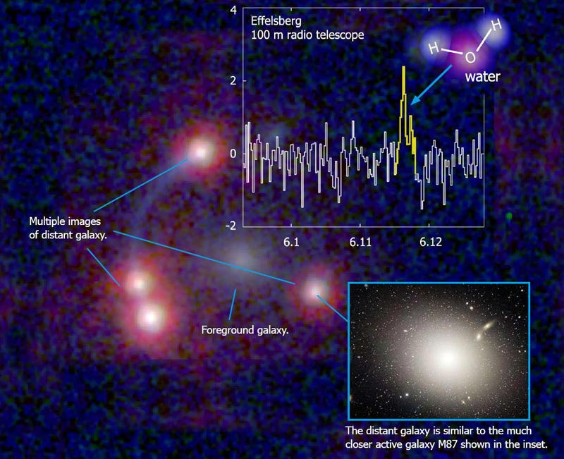 Illustration for article titled Water Vapor Discovered Near Black Hole 11.1 Billion Light Years Away