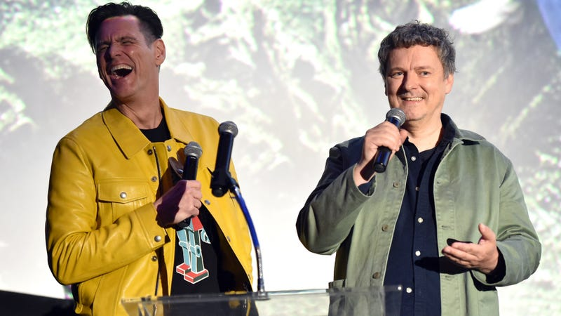 Gondry (left) and Carrey at the September 5 premiere of Kidding