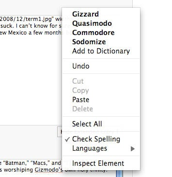 "Illustration for article titled Firefox's Spellchecker Has Four Words for ""Gizmodo"""