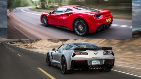 Illustration for article titled Corvette Z06 versus Ferrari 488 (Business Insider)