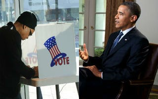 Black Voter in California (Mark Ralston/Getty Images); President's Interview (White House)