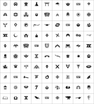 Symbols representing 90 of the different sets of Magic: The Gathering cards