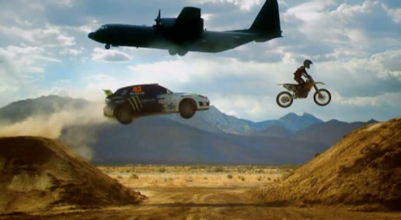 Illustration for article titled Top Gear: Ken Block Takes James May Sideways