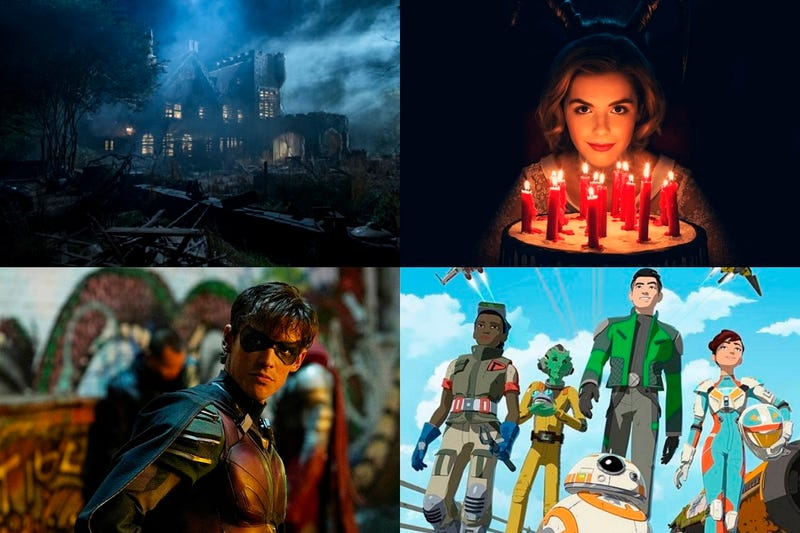 Clockwise from top left: The Haunting Of Hill House, Chilling Adventures of Sabrina, Star Wars: Resistance & Titans.