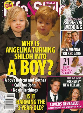 Illustration for article titled This Week In Tabloids: Angelina's Rough Sex With Ralph Fiennes & Shiloh's Harmful Haircut