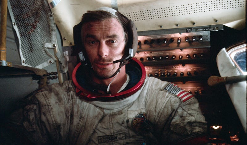 Cernan in the Lunar Module, covered with Moon dust, after his third moonwalk during the Apollo 17 mission. (NASA)