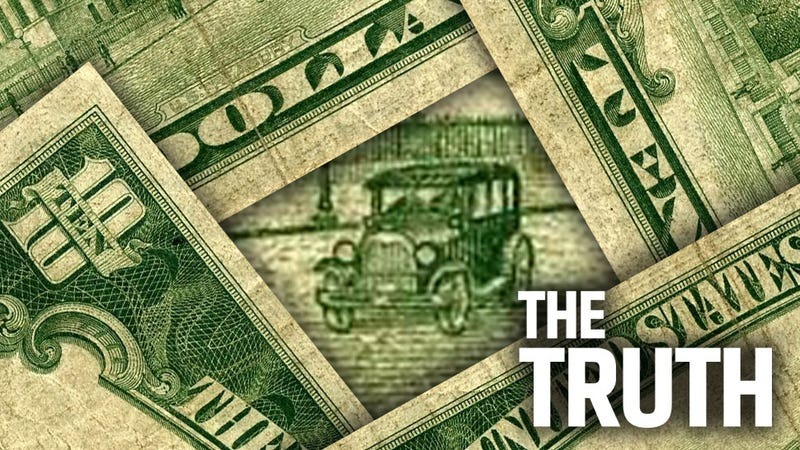 Illustration for article titled The Dark Secret Of The Only Car To Appear On American Paper Money