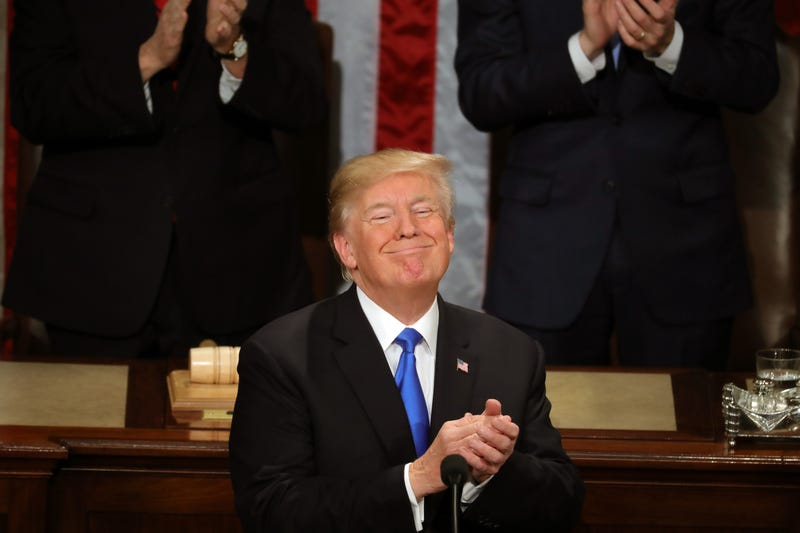 President Donald Trump claps during the State of the Union in the chamber of the U.S. House of Representatives in Washington, D.C., on Jan. 30, 2018. (Chip Somodevilla/Getty Images)