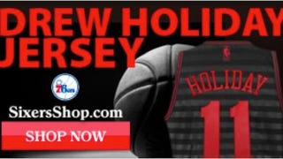 """Illustration for article titled The 76ers' Website Apparently Was Selling """"Drew Holiday"""" Jerseys A Little While Ago"""