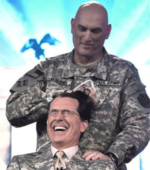 Illustration for article titled Stephen Colbert Takes One For The Team, Victory In Iraq
