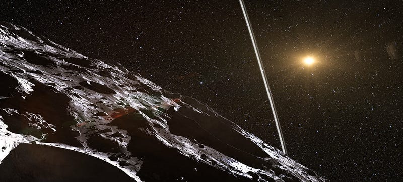 Illustration for article titled Astronomers found a minor planet with a ring system like Saturn's