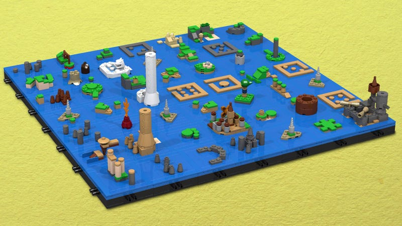 Illustration for article titled Navigate the Legend of Zelda the Windwaker with this Lego map