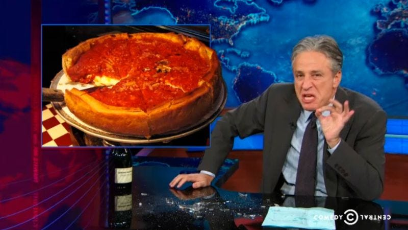Illustration for article titled Jon Stewart and Chicago mayor Rahm Emanuel fight over pizza
