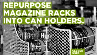 Illustration for article titled Repurpose a Magazine Rack into a Canned Food Holder
