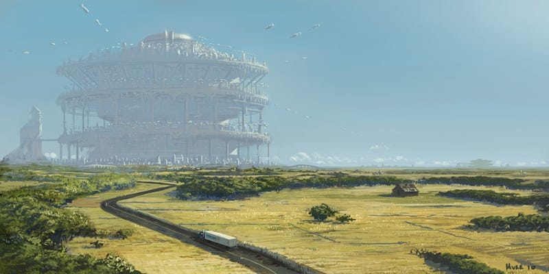 Illustration for article titled These futuristic cities are housed inside a single, gigantic building