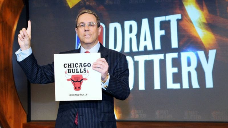 Illustration for article titled Bulls Blow NBA Draft Lottery Win On More NBA Draft Lottery Tickets