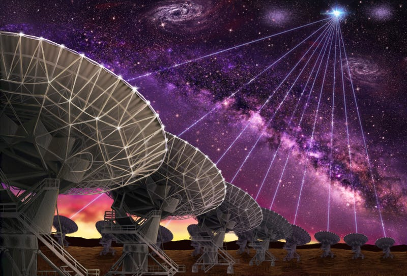 Artist's impressing of the dishes of the Very Large Array localizing a fast radio burst in space for the first time. Image: Danielle Futselaar