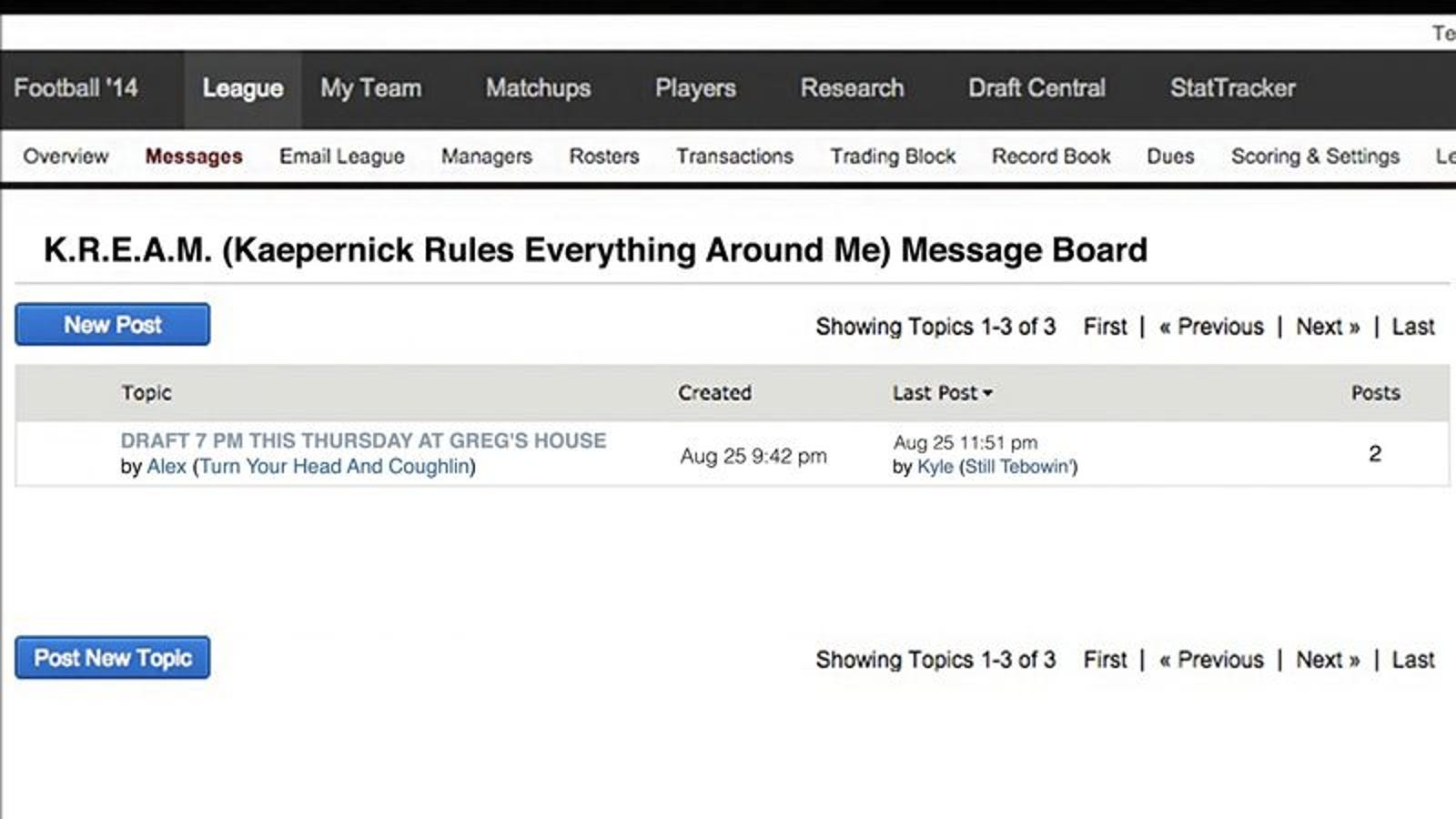 Only Post On Fantasy Football League Message Board Still ...
