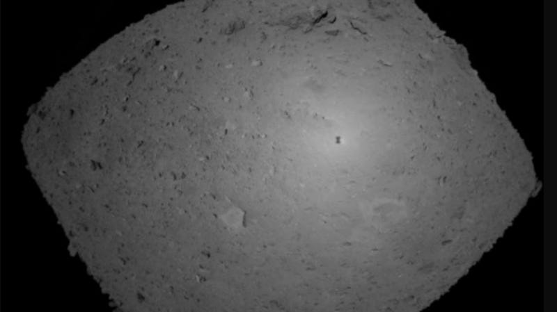 This Oct. 25, 2018 image provided by the Japan Aerospace Exploration Agency (JAXA) shows asteroid Ryugu.