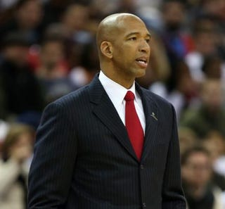 Monty Williams, then head coach of the New Orleans Pelicans, during a game in 2014 in New OrleansChris Graythen/Getty Images