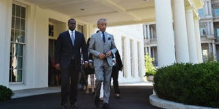 The Rev. Al Sharpton, right, and Atlanta Mayor Kasim Reed in front of the White House on July 29 (Mandel Ngan/Getty Images)