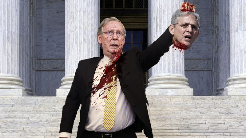 Illustration for article titled Defiant Mitch McConnell Holds Merrick Garland's Severed Head Aloft In Front Of Capitol Building