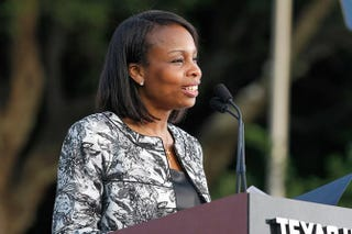 San Antonio Mayor-elect Ivy Taylor speaks onstage at the Texas Honors event to celebrate the History miniseries Texas Rising May 18, 2015, at the Alamo in San Antonio.Rick Kern/Getty Images for HISTORY