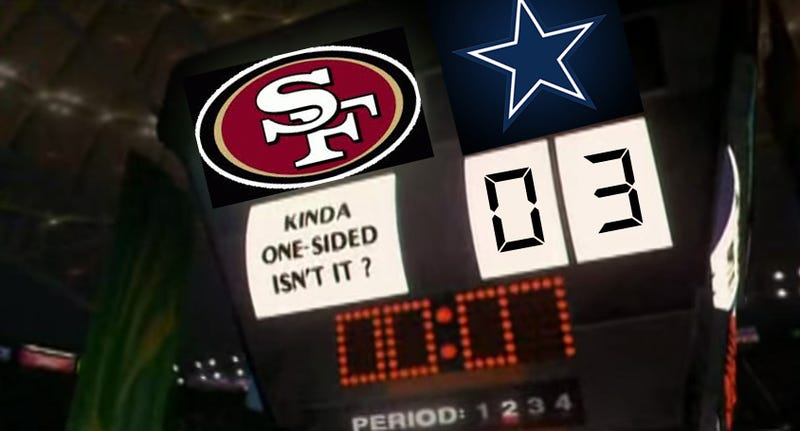 Illustration for article titled Your Cowboys/49ers Halftime Score