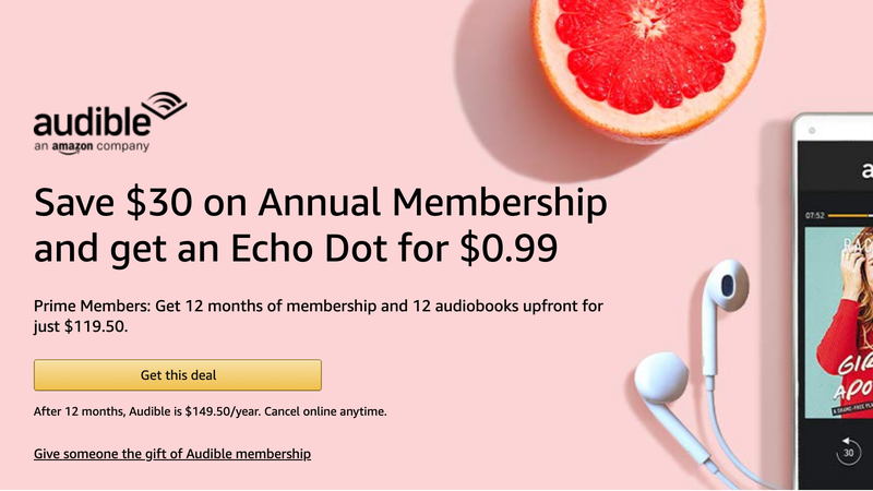 Annual Audible Membership | $120 | Amazon | Includes code for $.99 Echo Dot