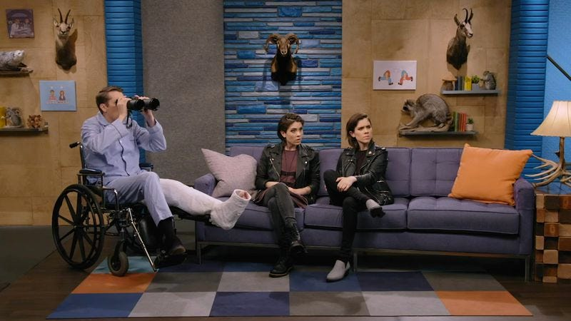 (Scott Aukerman, Tegan Quin, Sara Quin) (Photo: IFC)