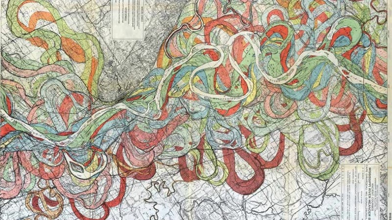 Illustration for article titled A gorgeous map of the many twisting paths taken by the Mississippi River