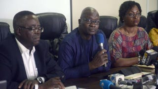Lagos, Nigeria, Health Commissioner Jide Idris (center)—flanked by Director of Nigerian Centre for Disease Control Abdulsalam Nasidi and Special Adviser to Lagos State Governor Yewande Adeshina—speaks about Ebola outbreak during a briefing in Lagos on July 28, 2014.PIUS UTOMI EKPEI/AFP/Getty Images
