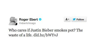 Illustration for article titled Roger Ebert Can't Believe That Anyone Would Care So Much About Justin Bieber Smoking Weed