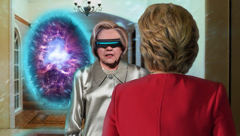 Illustration for article titled Time-Traveling Hillary Clinton Warns Self To Do Everything In Exact Same Way