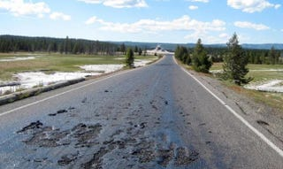 Illustration for article titled It's So Hot In Yellowstone That a Road Literally Melted