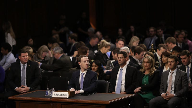 Facebook co-founder and CEO Mark Zuckerberg testifies before a combined Senate Judiciary and Commerce committee hearing.