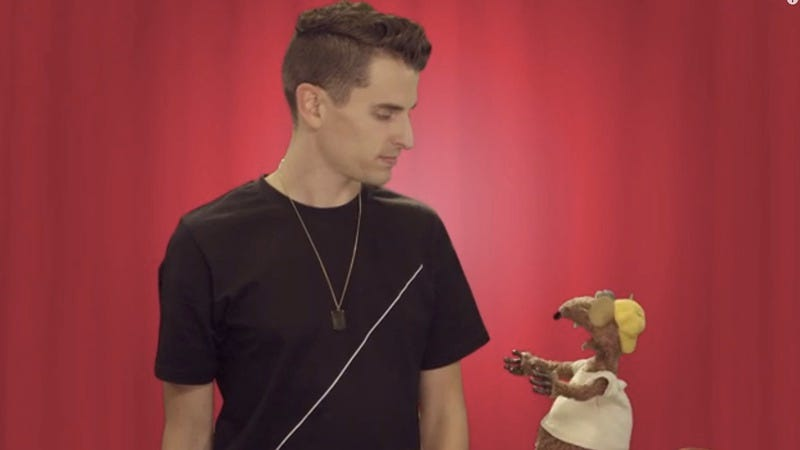 Rizzo the rat with YouTube star Mike Tompkins