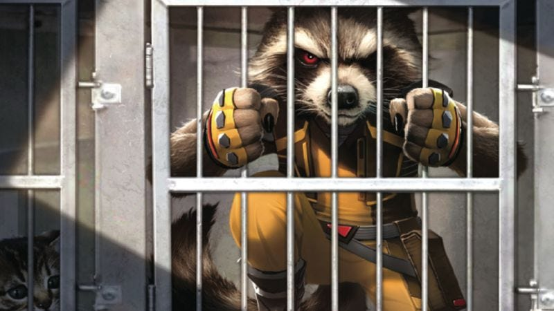 Illustration for article titled Earth sucks for a talking raccoon in this Rocket Raccoon #1 exclusive