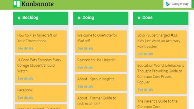 Kanbanote Organizes Your Evernote Notes in Trello-like Boards