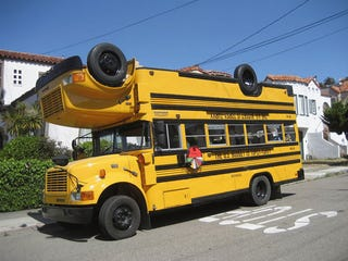Illustration for article titled Welding Two School Buses Together Makes A Fine Political Statement