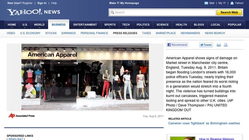 Illustration for article titled Not Even U.K. Looters Will Touch American Apparel Clothes