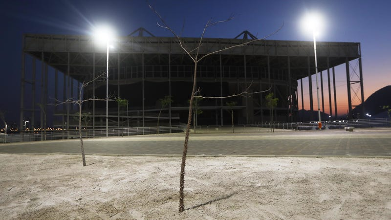 The abandoned Aquatics Stadium in the Olympic Park (Photo: Getty)