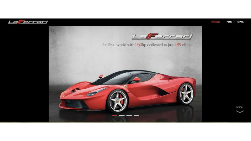 Illustration for article titled LaFerrari's Website Goes Up To Show The Hybrid Glory That Is LaFerrari