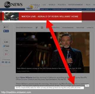 Illustration for article titled ABC Offers Live Aerial Footage of Robin Williams' Home Because Why?