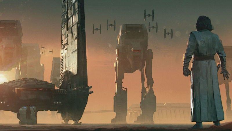 Arte conceptual creado por James Clyne que muestra a Luke revelándose ante la Primera Orden en The Last Jedi.